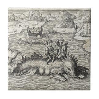 Map Monster Sea Serpent Ceramic Tile