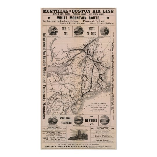 Map Montreal and Boston Air Line Poster