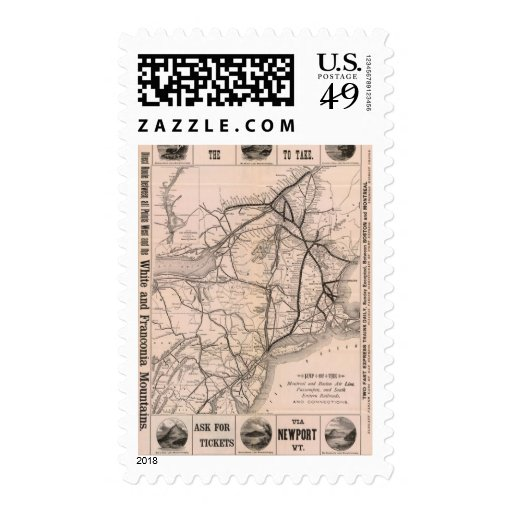 Map Montreal and Boston Air Line Stamps