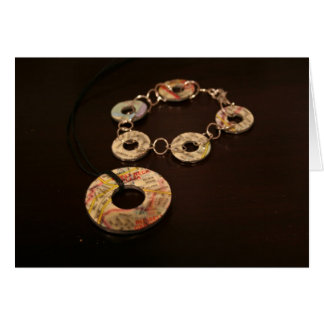 Map Necklace and Bracelet Greeting Card