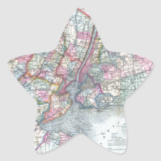 Map  New York City Star Sticker