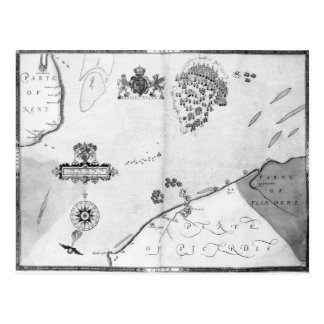 Map No.10 showing the route of the Armada fleet Post Card