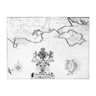 Map No.7 showing the route of the Armada fleet Canvas Print