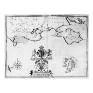 Map No.7 showing the route of the Armada fleet Post Card