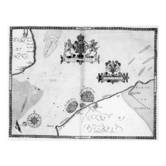 Map No.9 showing the route of the Armada fleet Postcard