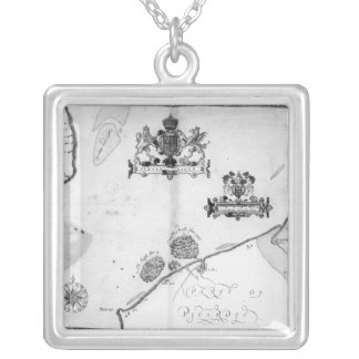 Map No.9 showing the route of the Armada fleet Silver Plated Necklace