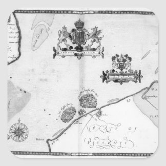 Map No.9 showing the route of the Armada fleet Square Sticker