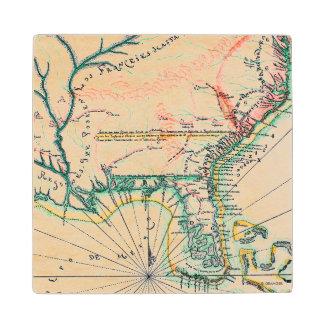Map: North America, 1742 Wood Coaster