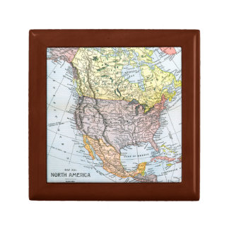 MAP: NORTH AMERICA, 1890 JEWELRY BOX