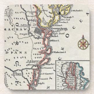 Map: North America, C1700 Beverage Coaster