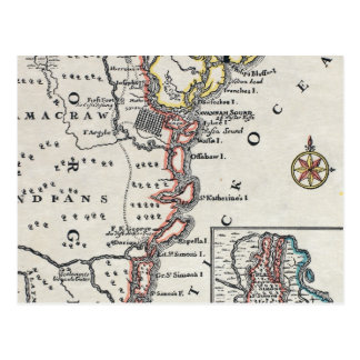 Map: North America, C1700 Postcard