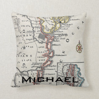 Map: North America, C1700 Throw Pillow
