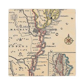 Map: North America, C1700 Wooden Coaster
