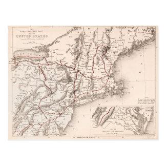 Map: Northeast USA Postcard