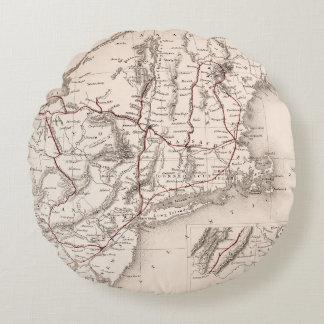 Map: Northeast USA Round Pillow