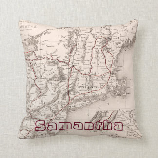 Map: Northeast USA Throw Pillow