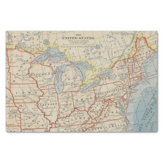 Map Northeastern and Great Lakes U.S. 1888 Tissue Paper