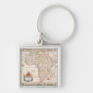 Map of Africa 2 Silver-Colored Square Keychain