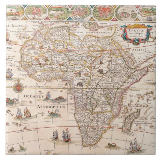 Map of Africa 3 Large Square Tile