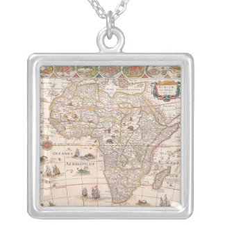 Map of Africa 3 Silver Plated Necklace