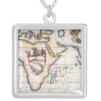 Map of Africa 5 Square Pendant Necklace