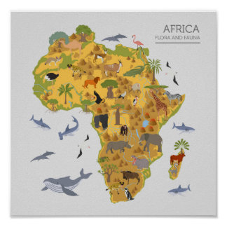 Animal Map Of Africa Posters Zazzle