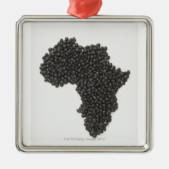 Map of Africa made of Black Beans Metal Ornament