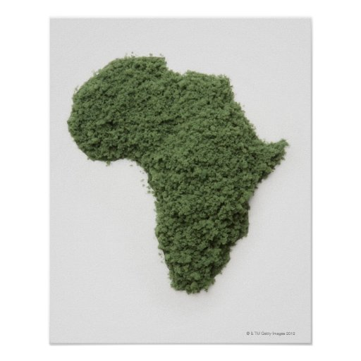 Map of Africa made of grass Poster