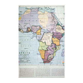 Map of Africa showing Treaty Boundaries, 1891 Canvas Print