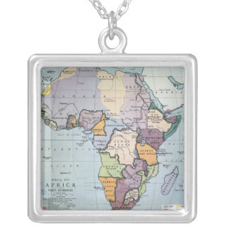 Map of Africa showing Treaty Boundaries, 1891 Square Pendant Necklace