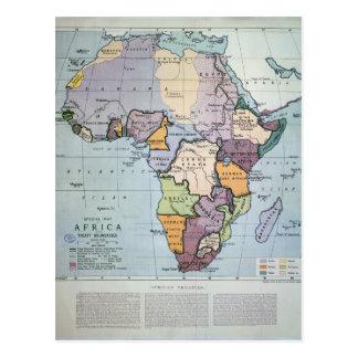 Map of Africa showing Treaty Boundaries, 1891 Postcard