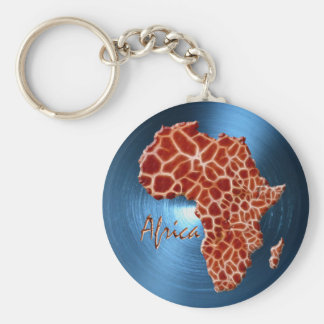 Map of AFRICA Steel-Blue Giraffe Spot Series Keychain