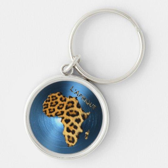 Map of AFRICA Steel-Blue Leopard Fur Series Keychain