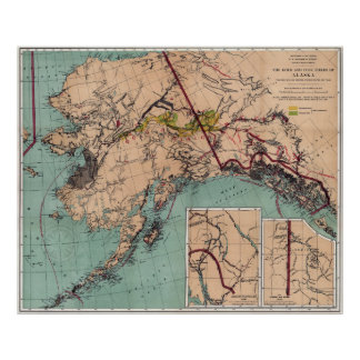 MAP of ALASKA COAL and GOLD RESOURCES  1898 Poster