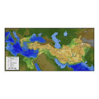 Map of Alexander the Great Empire 334-328 B.C. Poster