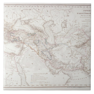 Map of Alexander the Greats Empire Large Square Tile