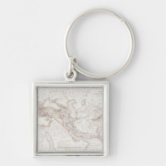 Map of Alexander the Greats Empire Silver-Colored Square Keychain
