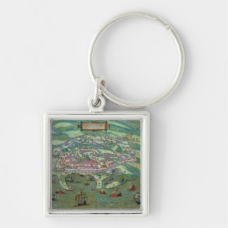 Map of Alexandria, from 'Civitates Orbis Terrarum' Silver-Colored Square Keychain