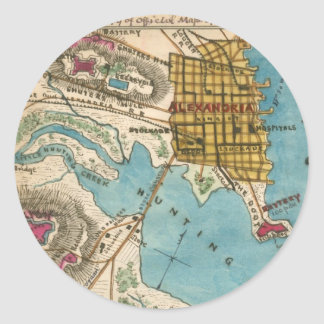 Map of Alexandria VA and Neighbor Cities Classic Round Sticker