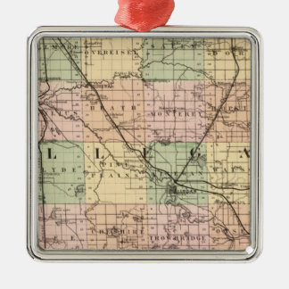 Map of Allegan County, Michigan Metal Ornament
