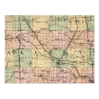 Map of Allegan County, Michigan Postcard