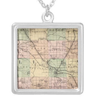 Map of Allegan County, Michigan Silver Plated Necklace