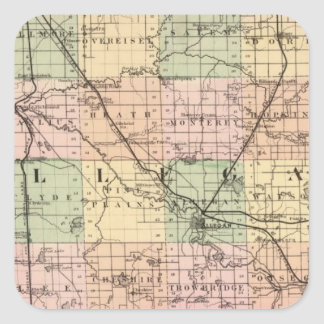 Map of Allegan County, Michigan Square Sticker