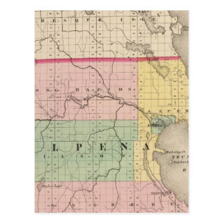Map of Alpena County, Michigan Postcard
