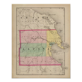 Map of Alpena County, Michigan Poster
