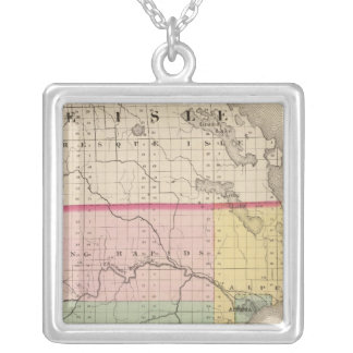 Map of Alpena County, Michigan Silver Plated Necklace