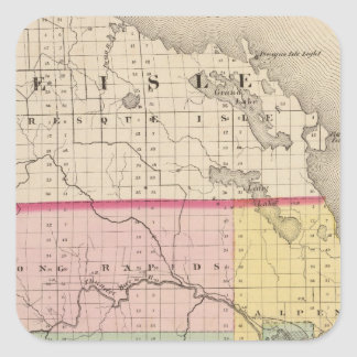 Map of Alpena County, Michigan Square Sticker