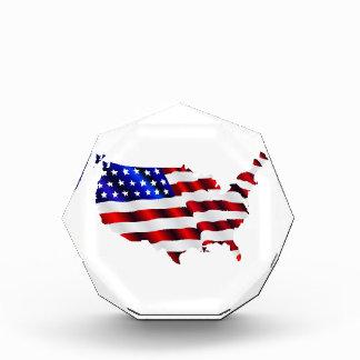 Map of America American Flag Acrylic Award