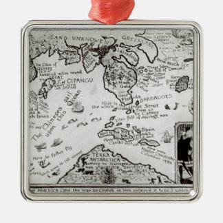 Map of America and directions to China Metal Ornament