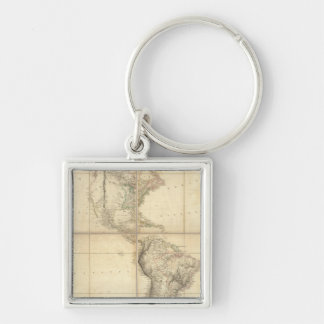 Map of America by A Arrowsmith Silver-Colored Square Keychain